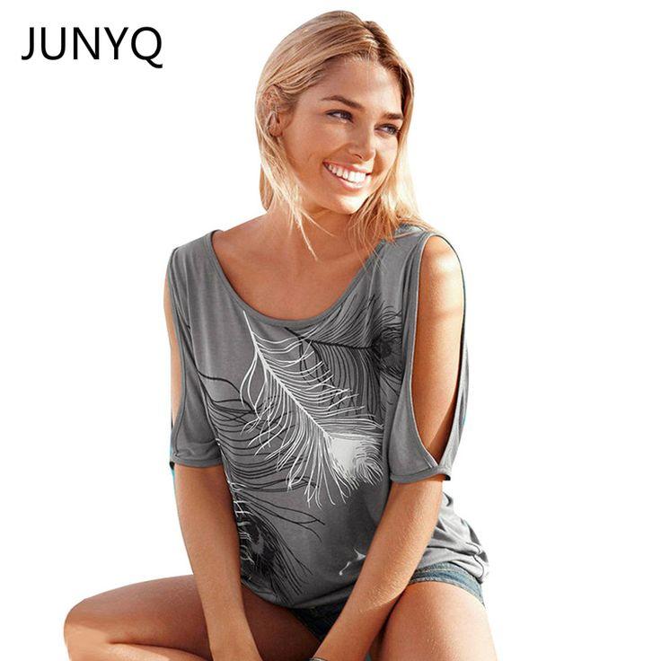 スリットスリーブコールドショルダーフェザープリント女性カジュアル夏tシャツ女の子2017ティーtシャツルーズトップtシャツプラスサイズs-5xl