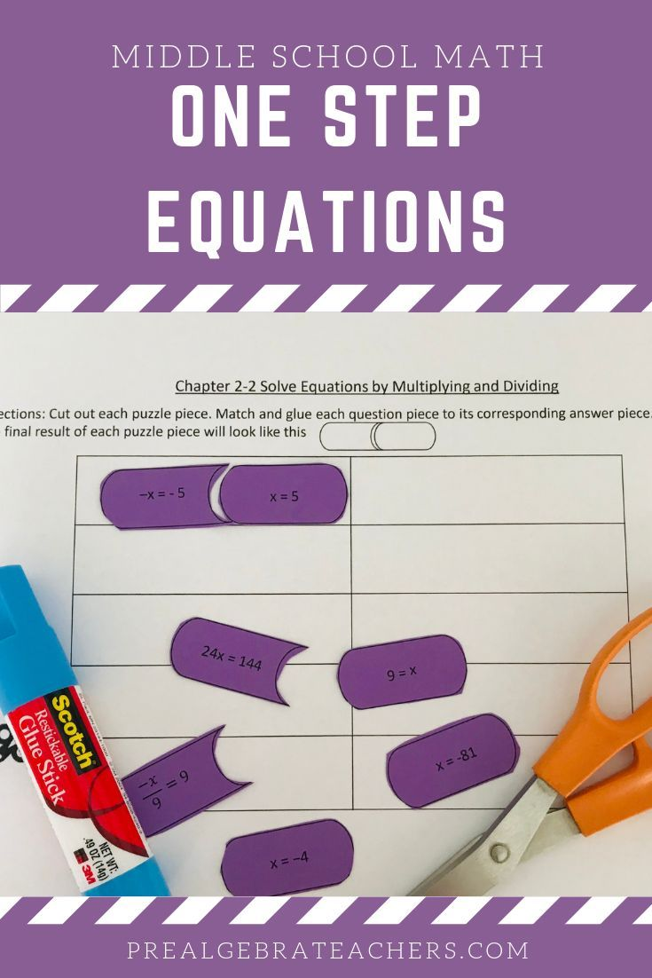 How To Solve One Step Equations By Multiplying And Dividing One Step Equations Middle School Math Math Centers Middle School