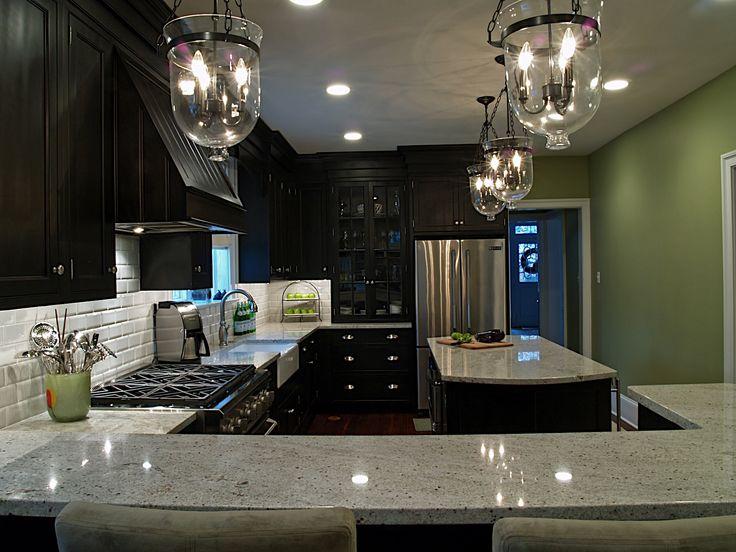 (:: Wall Colors, Dreams Kitchens, Dark Cabinets Lights Granite, Green Wall, Black Cabinets, Subway Tile, Pendants Lights, Photo, Granite Countertops
