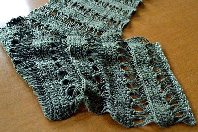 Crocheted broomstick lace scarf with free pattern- I made this! :D