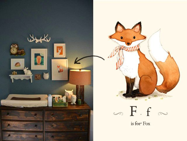 Woodland themed nursery | THIS! but aqua instead of orange and grey textiles instead of brown