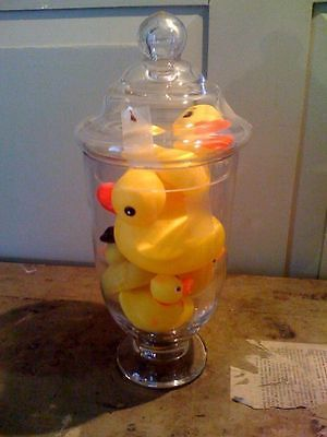 Glass Piece with 8 Rubber Duckies - Great for Bathroom Decor.