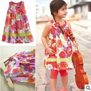 5pcs/lot wholesale Little girl's cotton beautiful floral pleated princess beach dress with lovely ribbon/GS6628 Free shipping