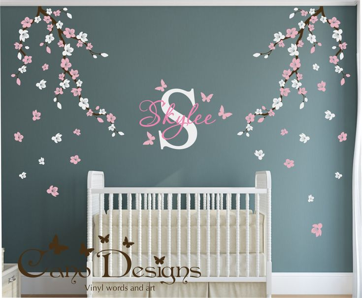 Custom Wall Decal, Cherry Blossom Branches, Custom Monogram, Custom Name, Butterflies, Wall Decal, Wall Sticker by CanoDesigns on Etsy