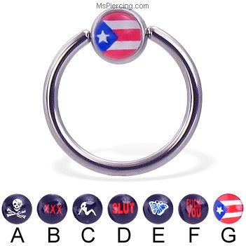 Captive bead ring with logo ball, 14 ga on MsPiercing