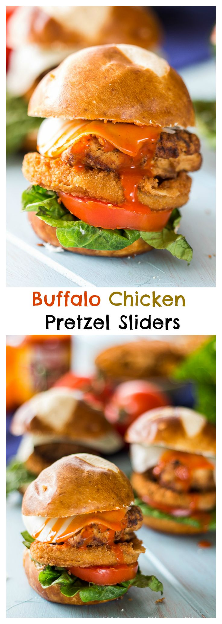 These Fried Chicken Buffalo Pretzel Sliders are the perfect summer party food. Thin slices of provolone cheese are melted over crispy fried chicken pieces, topped with buffalo sauce and served on mini pretzel buns.
