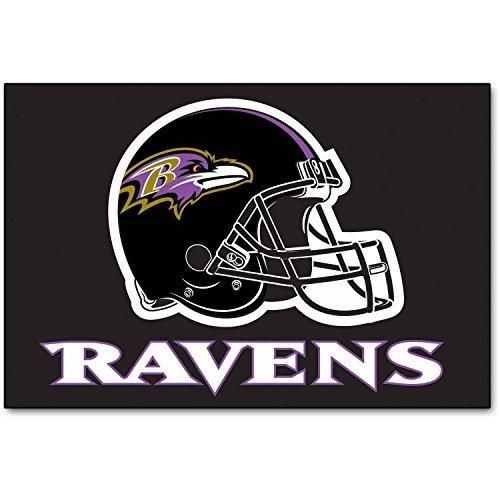 19 X 30 NFL Ravens Door Mat Printed Logo Football Themed Sports Patterned Bathroom Kitchen Outdoor Carpet Area Rug Gift Fan Merchandise Vehicle Team Spirit Purple Black Gold Nylon