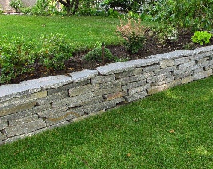 Retaining walls wall installation and sloped backyard on pinterest - Stone fences garden designs ...