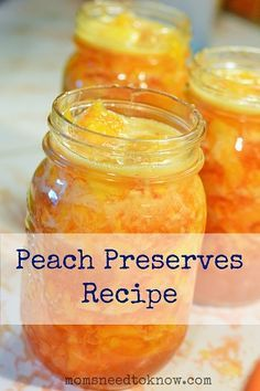 #Peach Preserves Recipe _ There is nothing quite like the taste of homemade peach preserves. The peaches keep their sweet juicy flavor all year round, & you get yummy Peach Preserves that don't have any weird additives or suspicious ingredients.