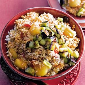 Recept - Pilav met abrikoos en aubergine - Allerhande  aanrader!  Heel lekker bij lam!!