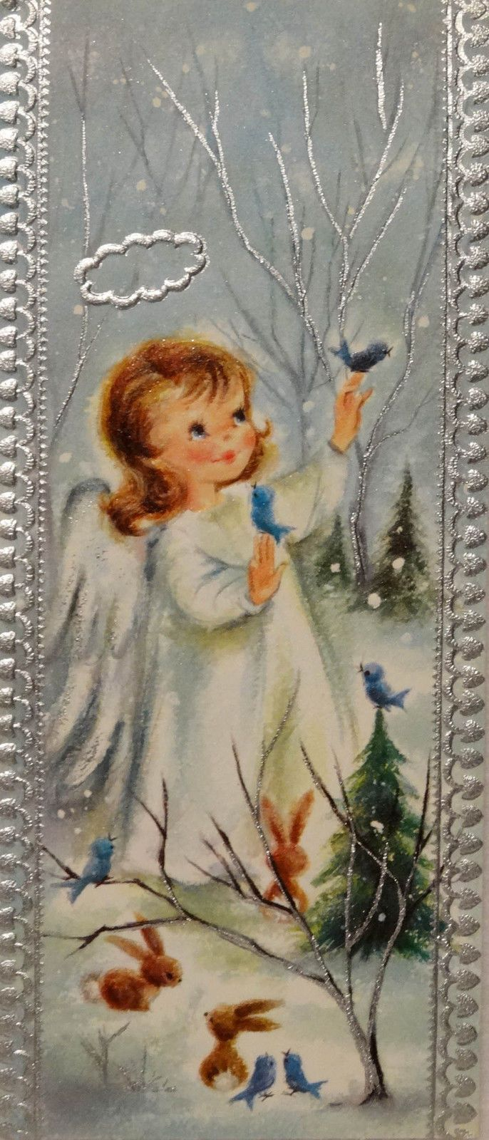 145 60s Sweet Girl Angel in The Woods Birds Animals Vtg Christmas Card Greeting | eBay