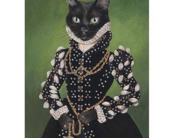 Stampe d'arte gatto nero, Isabel, ritratto del gatto nero, gatto principessa