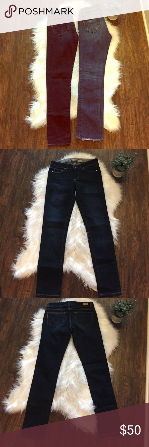 """•Paige• Jean Bundle Paige Jean Bundle. In Great Used Condition, Both Size 25. 2 Pairs of Designer Jeans Include (from left to right in pictures): 1. Paige, Dark Wash, Skyline, Inseam is About 27.5"""" 2. Paige, Factory Destroyed, Skyline Ankle Peg, Inseam is About 27.5"""" Paige Jeans Jeans Skinny"""