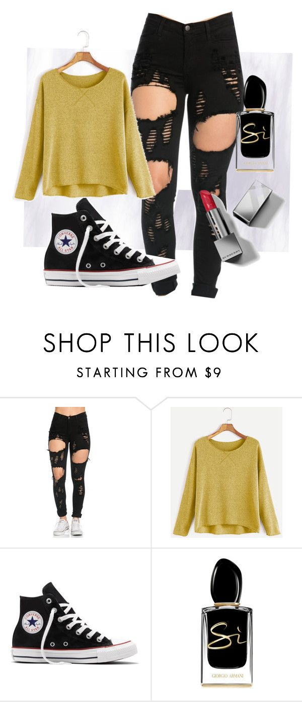 """""""Ripped jeans skin show in'"""" by rebecca-cain-1 ❤ liked on Polyvore featuring Converse, Giorgio Armani and Burberry"""