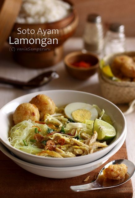 Soto Ayam Lamongan typical food from East Java that you often see in the corners of the village, a large shopping mall, Food court, Depot, and in the market. Soto is soup yellow color.