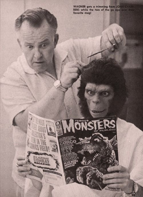Lou Wagner aka Lucius (Planet of The Apes) getting a trim from with John Chambers, ca. 1968. ☀