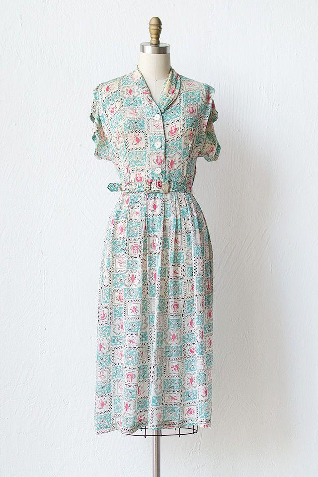 1940s teal pink print rayon dress