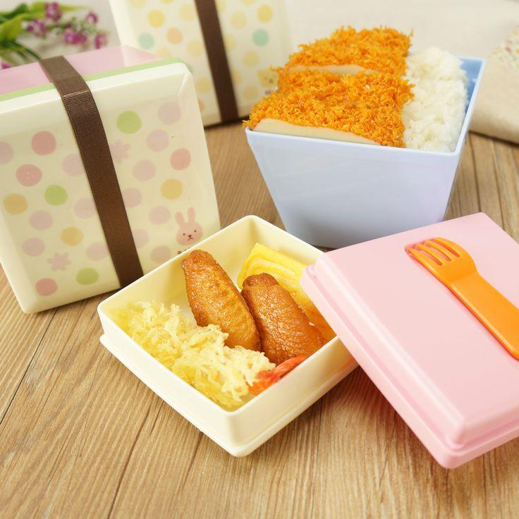 Rilakkuma del almuerzo caja Bento japonés doble cuadrado tazón de sopa de fideos instantáneos microondas de plástico pequeño almuerzo portátil(China (Mainland))