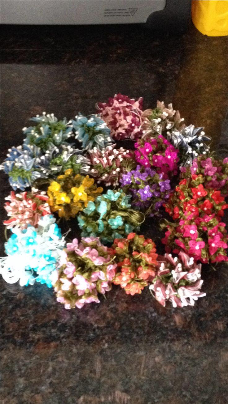 İğne oyası tülbentlerinize el yapımı çiçekler