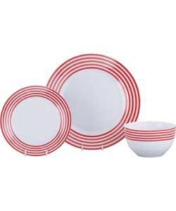 ColourMatch Stripe 12 Piece Dinner Set - Poppy Red.