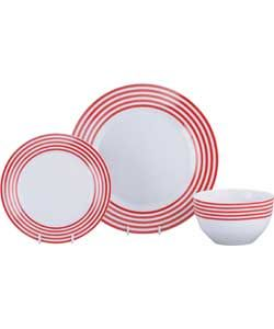 ColourMatch Stripe 12 Piece Dinner Set - Poppy Red.