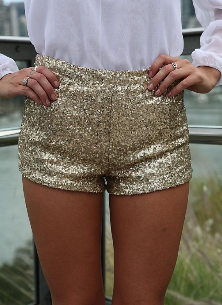Gold Shorts - Gold Sequin Stretch Mini Shorts