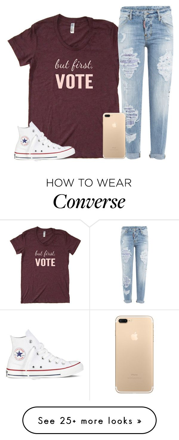 """Actually want a BF...? Is that bad?"" by dejonggirls on Polyvore featuring Dsquared2 and Converse"