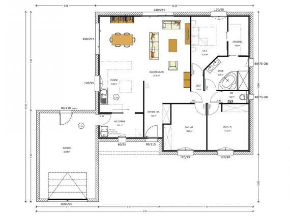 Plan 100m 3 chambres