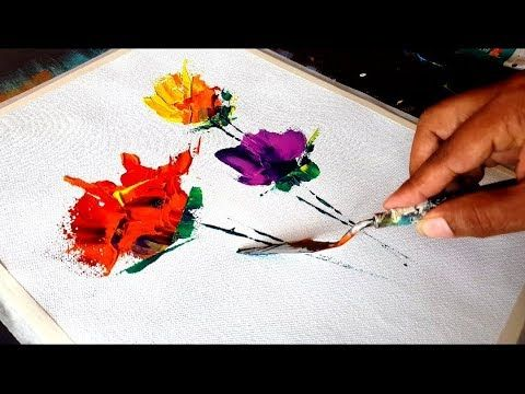 Abstract painting / Abstract flowers / Very easy for beginners / Acrylic paints and spatula / Demo – YouTube