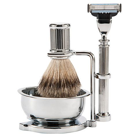 Buy John Lewis Chrome Shaving Set With Bowl Online at johnlewis.com