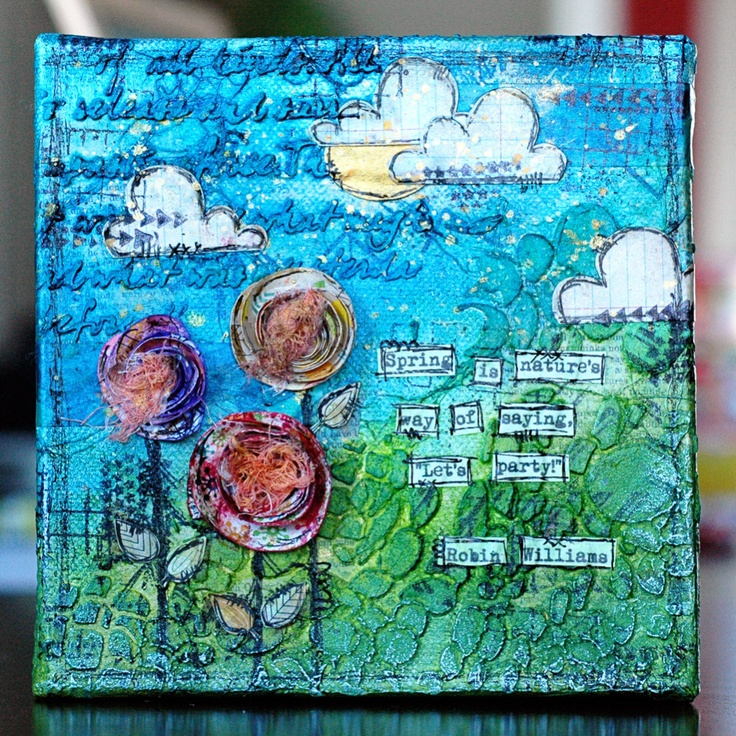 Sara's Spring Canvas - love these 6x6 canvases!