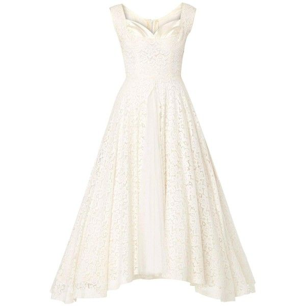 Jean Patou Haute couture ivory dress, circa 1950 (6.040 BRL) ❤ liked on Polyvore featuring dresses, white going out dresses, going out dresses, white ivory dress, lace summer dress and winter white dress