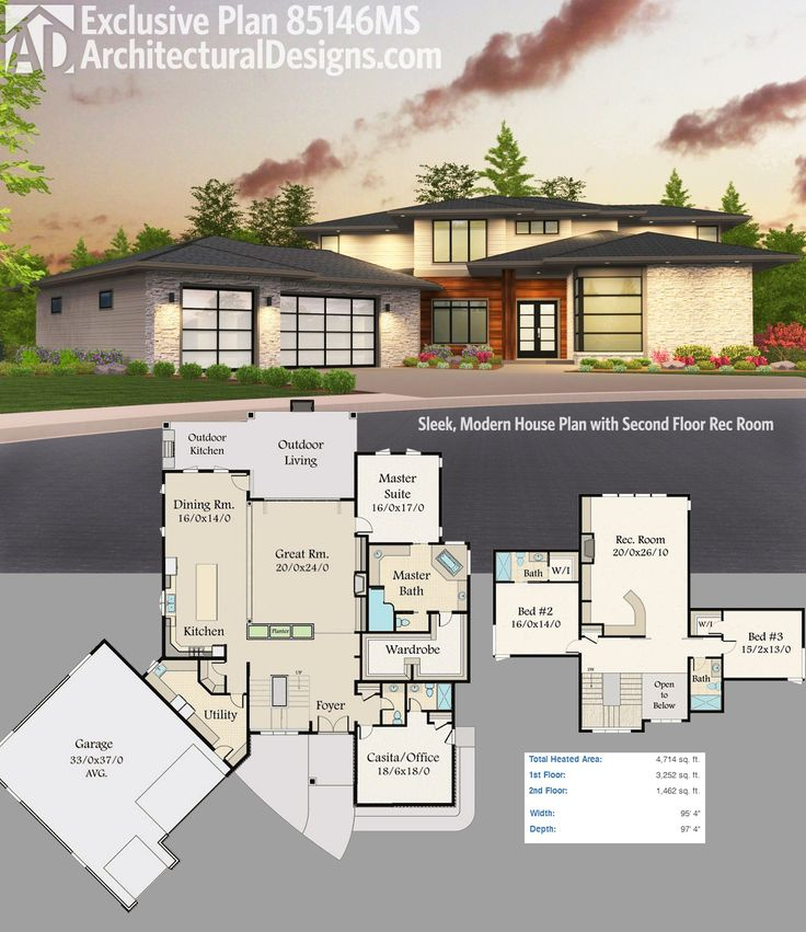 Architectural Designs Exclusive Modern House Plan 85146MS Gives You Over  4,700 Square Feet Of Living Spread