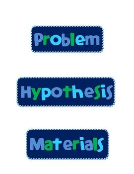 Labels to use on a project display board for a science fair.  Scientific method labels included are: problem, hypothesis, materials, procedures, ob...