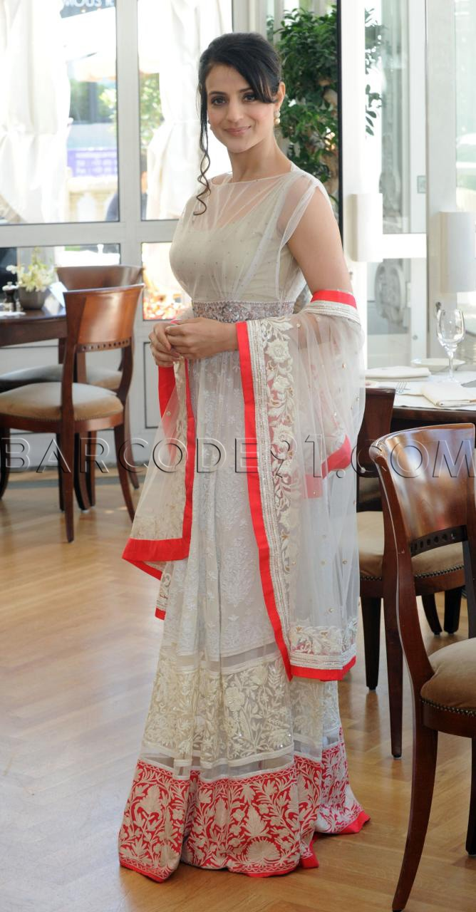 Ameesha Patel in white anarkali suit
