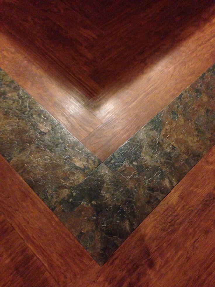 Vinyl plank flooring with inlay and pattern Vinyl plank