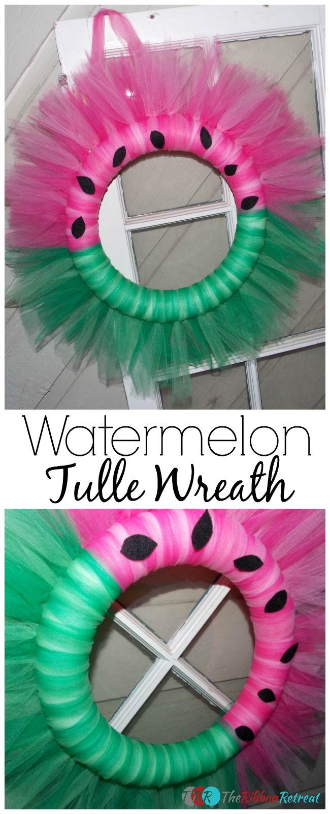 Ribbon wreath tutorial on wire hanger - Watermelon Tulle Wreath The Ribbon Retreat Blog