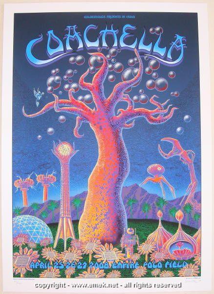 2008 Coachella Festival - Silkscreen Concert Poster by Emek