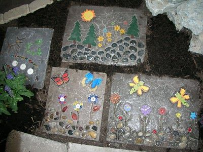 Daunted by mosaic, try this press-into-wet-concrete idea - but use slow drying mix or work very fast!