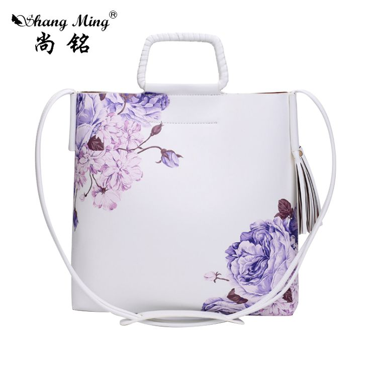 Famous Brand Female Bag Vintage Women Bucket Bag PU Leather Messenger Bags Flower PrintHandbags Women Female Shoulder Tassel Bag