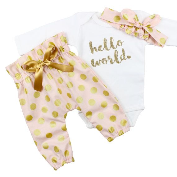 Baby Newborn take home outfit | Pink & Gold Hello World Outfit | Polka Dot High Waisted Pants and Knotted Headband