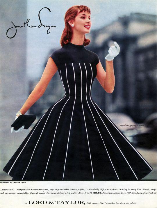 myvintagevogue black dress full skirt white stripe color photo print ad vintage fashion style model magazine designer Jonathan Logan 50s