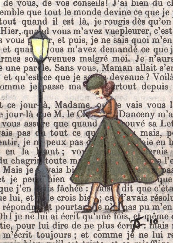 on a book page in my Girlfriendz Book: Book Art, Reading, Craft, Patrice Reads, Art Idea, Illustration, Book Pages, Painting, Altered Book