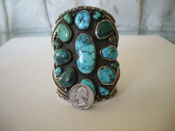 Huge vintage museum quality turquoise sterling cuff for Turquoise jewelry taos new mexico