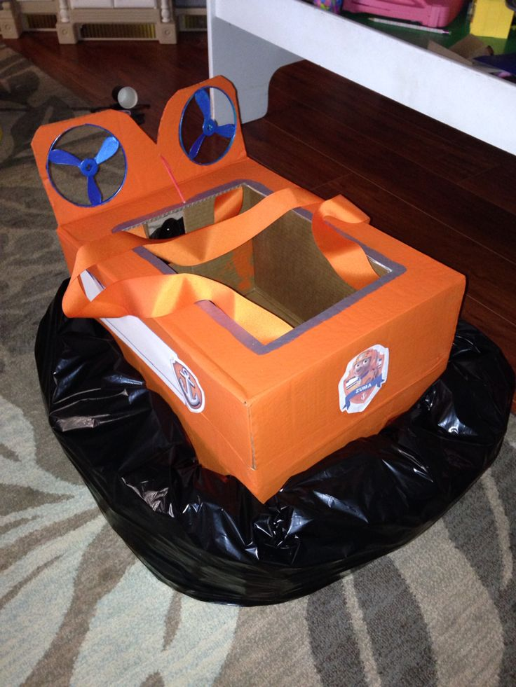 """Home made """"Zuma from Paw Patrol hovercraft"""" - wear with suspenders"""