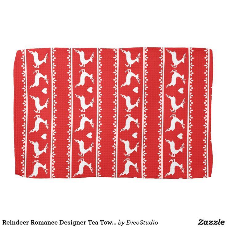 Reindeer Romance Designer Tea Towel