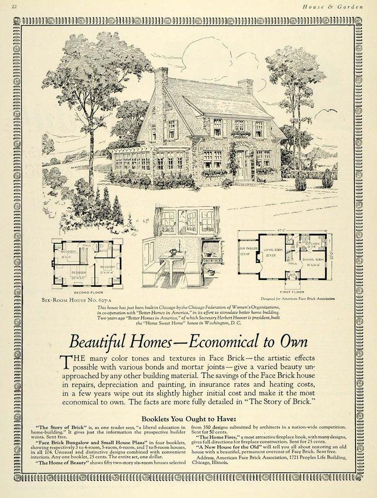 1925 Ad Home Bungalow House Plan Chicago Herbert Hoover - ORIGINAL HG1