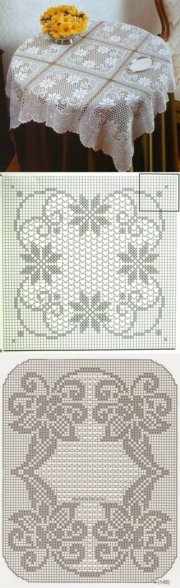 Beautiful crochet loin cloth. Crochet tablecloth ... ♥ Deniz ♥