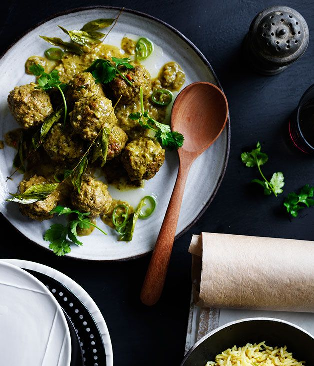 Recipe for lamb curry kofte with ginger pilaf and curry-leaf oil.
