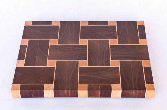 Large Chopping board of walnut and maple by ArgyleCutoffs on Etsy